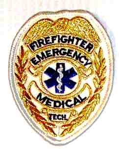 Firefighter Emergency Medical Tech Badge,-Gold Embroidered Patch