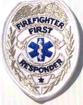 Firefighter First Responder Badge, Silver Embroidered Patch