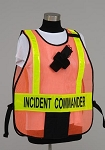 Model #PON5 Poncho Style Incident Command System Titled ICS Vest with Vert. Stripes