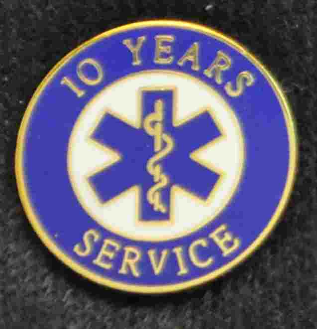 10 Year EMS Years of Service Pin