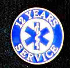 12 Year EMS Service Pin