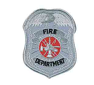Fire Dept Shield Patch Silver