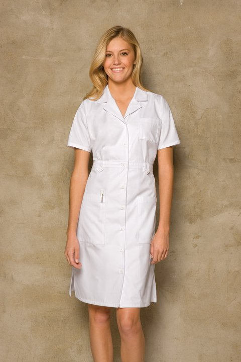 Button-Front Scrub Dress in White