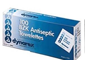 BZK Antiseptic Towelettes CASE- 100/box; 10 boxes/case (no alcohol)