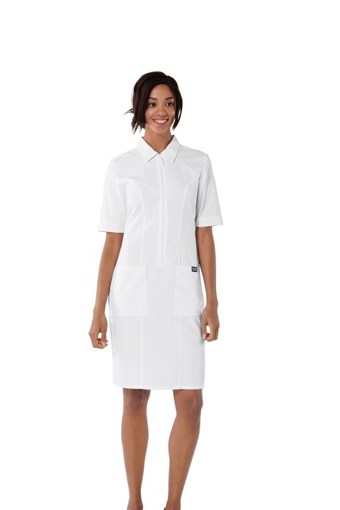 Zip-Front White Scrub Dress