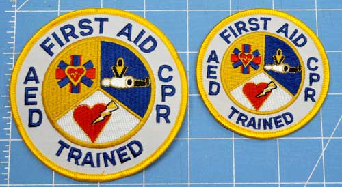 Embroidered Patch - First Aid AED CPR Trained 4 inch