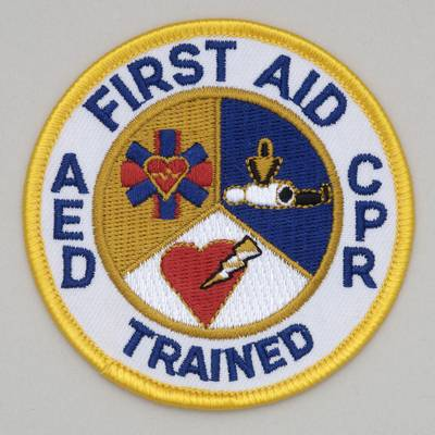 Embroidered Patch - First Aid AED CPR Trained 3 inch