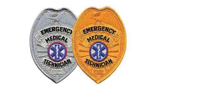 EMT Badge Patch Silver