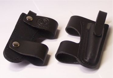 All Leather Belt Horizontal Holster - Black- (Empty)