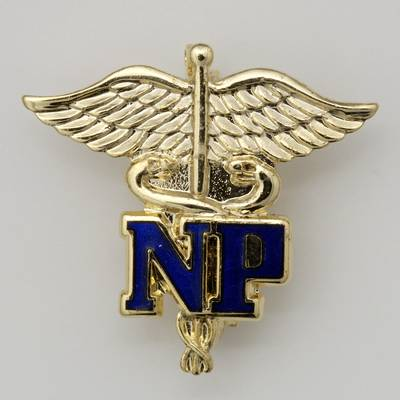 NP Letters on Caduceus Nurse Practitioner Pin