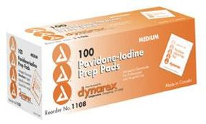 Povidone Iodine Prep Pad CASE, Medium - 100/box; 10 boxes/case
