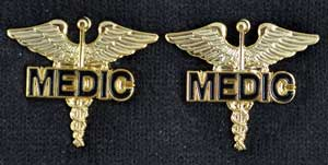 MEDIC on Caduceus Pin - Pair