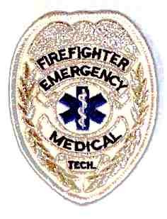 Firefighter Emergency Medical Tech Badge, Silver Embroidered Patch