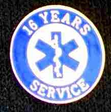 16 Year EMS Service Pin