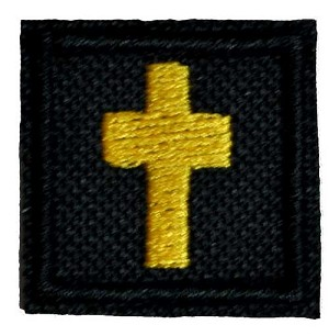 One inch black cross patch with gold embroidery
