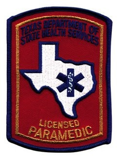 Texas Paramedic Patch - Red with Gold