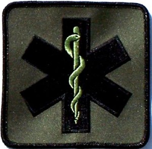 "4"" Star of Life, Olive-Green Embroidered Patch"