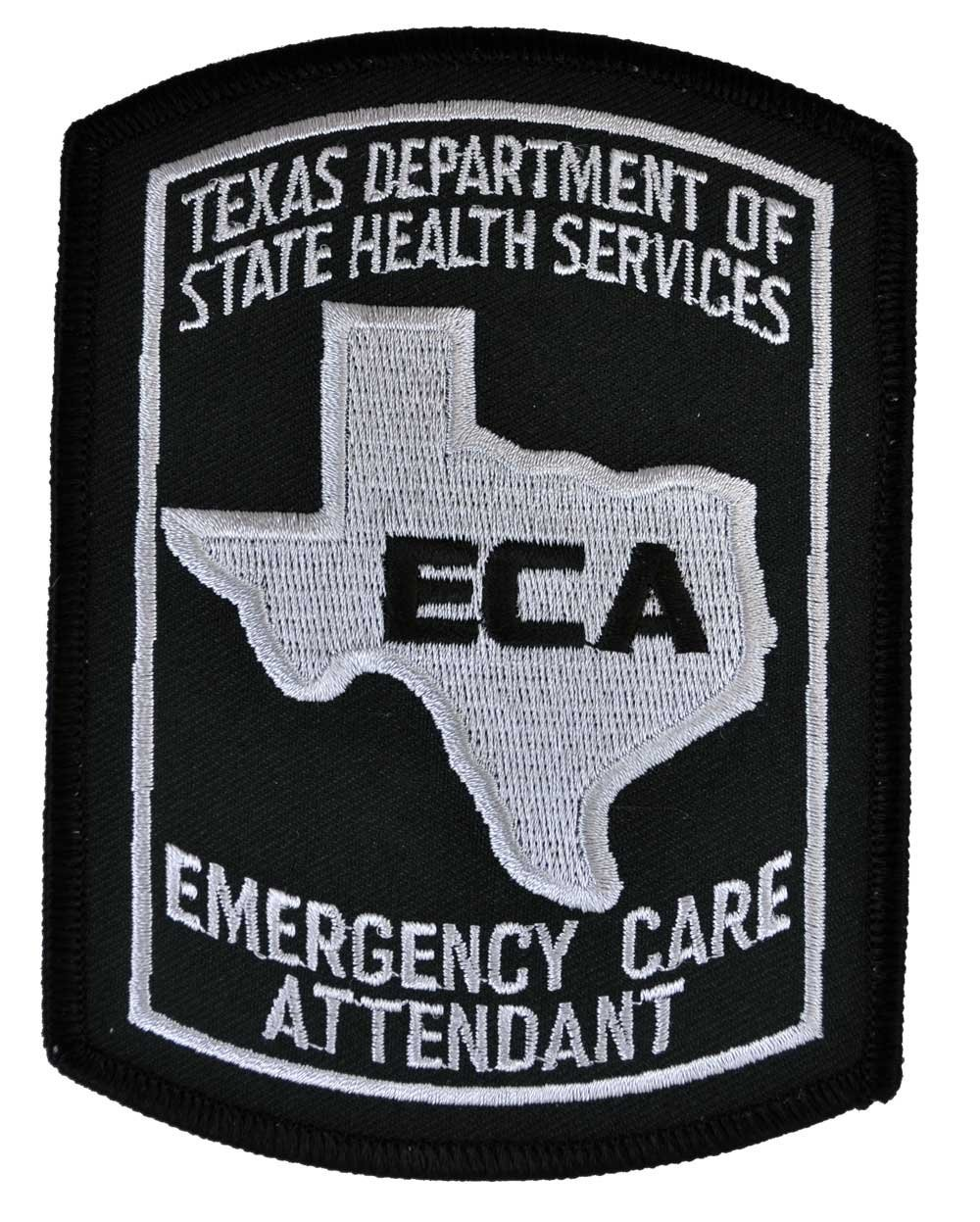Texas Emergency Care Attendant Patch - Black and Gray